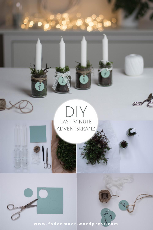 Pinterest Vorlage mit kurzer Schritt für Schritt Anleitung für den DIY upcycling last minute Adventskranz