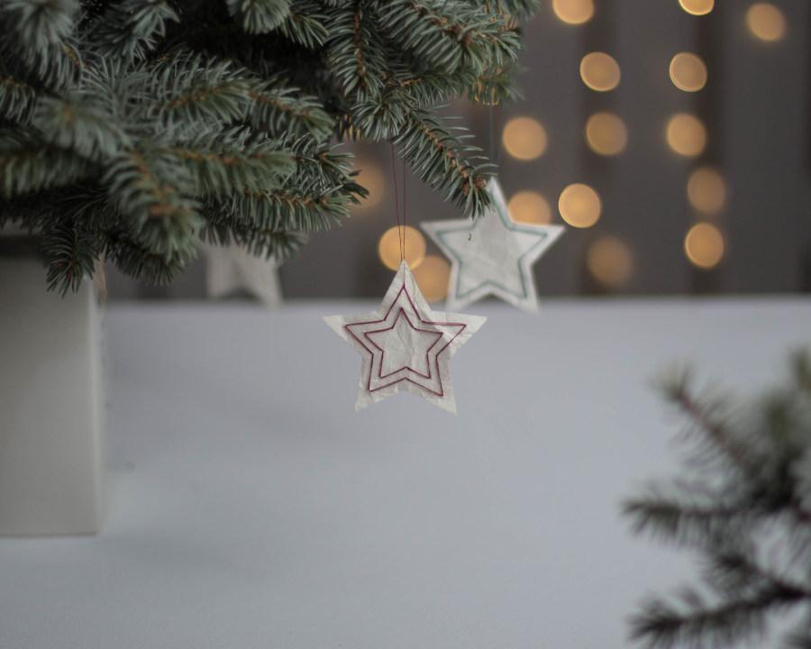 DIY Tetra Pak Sterne hängen an einem Tannenzweig als Weihnachtsdeko