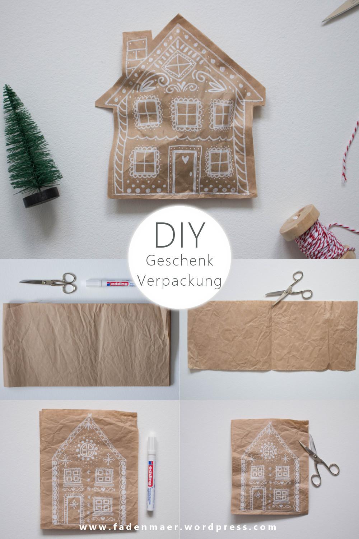 Anleitung für eine DIY upcycling Geschenkverpackung im Lebkuchendesign für Pinterest